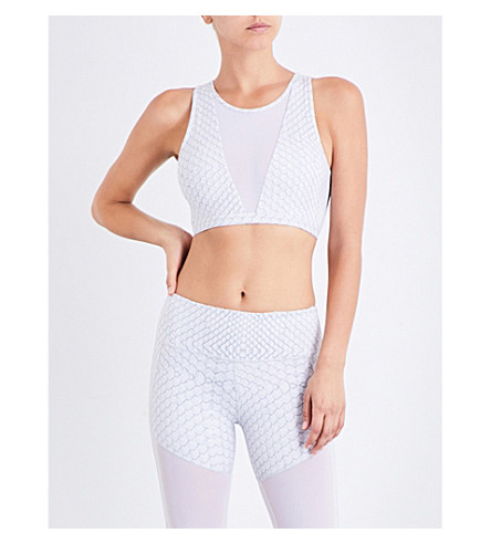 VARLEY Terry stretch-jersey crop top (White+snake