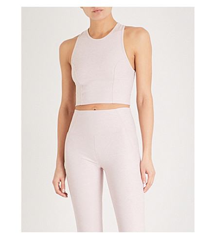 VARLEY Agnes stretch-jersey cropped top (Chalk+pink