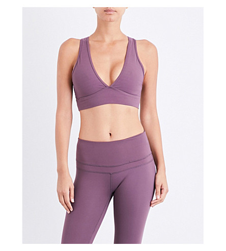 VARLEY Brooks stretch-jersey cropped top (Dusty+plum