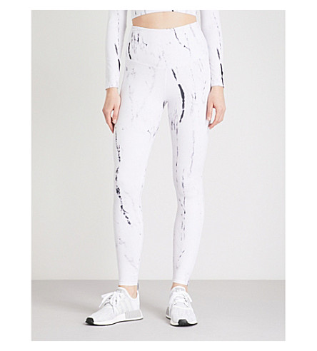 VARLEY Preston printed stretch-jersey leggings (Ink+marble