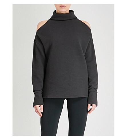 VARLEY Hampton cold-shoulder turtleneck cotton sweatshirt (Black