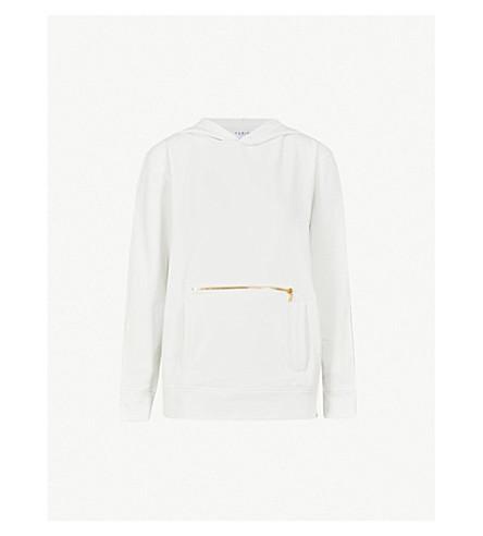VARLEY Balboa zipper-detail cotton-blend jersey hoody (Lily white