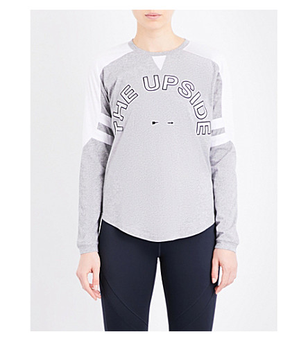THE UPSIDE Abelle cotton-jersey top (Grey+marle