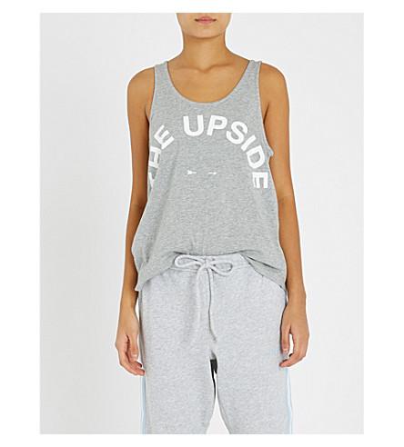 THE UPSIDE 伊莎徽标打印平纹针织棉背心顶部 (灰色 + 我