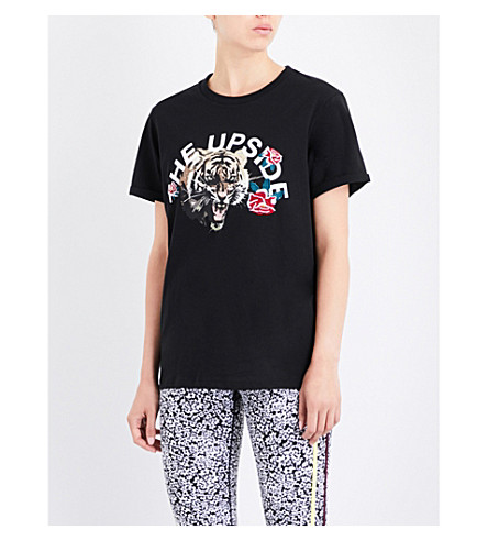 THE UPSIDE Tiger Rose cotton-jersey T-shirt (Black