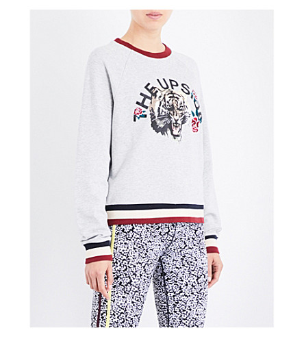 THE UPSIDE Tiger Rose cotton-jersey sweatshirt (Grey+marle