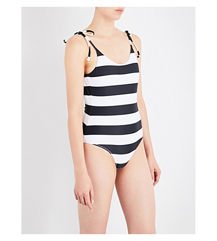 THE UPSIDE Tropical Stripe swimsuit (White/black