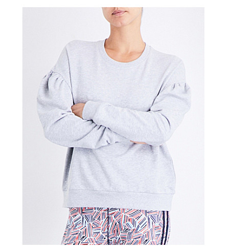 THE UPSIDE Laced-detail cotton-jersey sweatshirt (Grey+marle