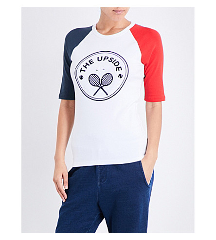 THE UPSIDE Tennis cotton-blend T-shirt (White