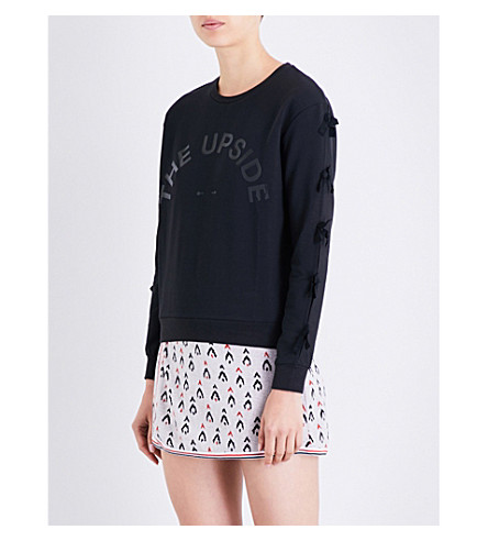 THE UPSIDE Bowie bow-detail cotton-jersey sweatshirt (Black