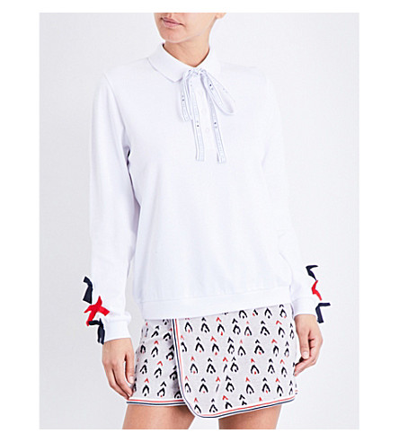 THE UPSIDE Bow cotton-piqué polo top (White