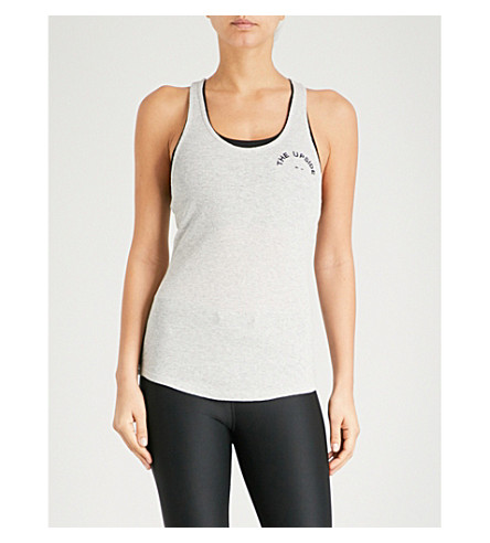 THE UPSIDE Rib Soul logo-embroidered cotton-jersey top (Grey marle