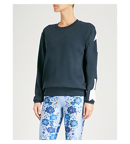 THE UPSIDE Arrow-print cotton-jersey sweatshirt (Indigo