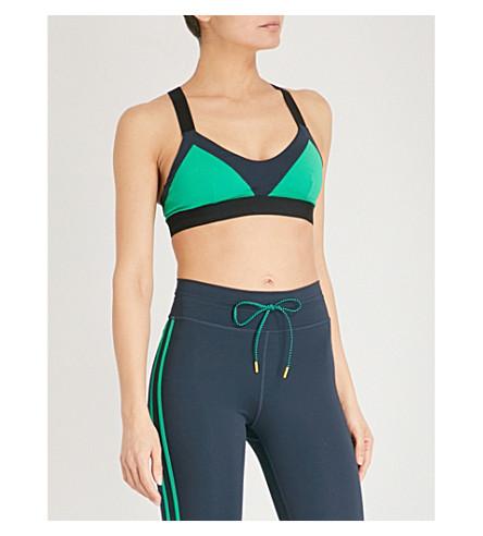 THE UPSIDE Colourblock stretch-jersey dance bra (Indigo/green