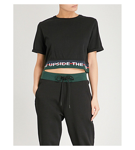 THE UPSIDE Creed cotton-jersey cropped top (Black