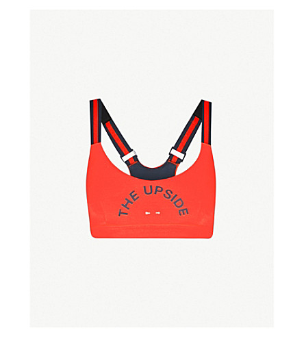 THE UPSIDE Matte Dance stretch-jersey sports bra (Red+indigo