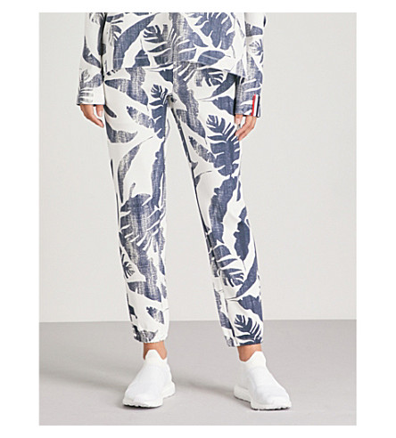 THE UPSIDE 蓝平纹针织面料慢跑裤 (白 + 靛蓝