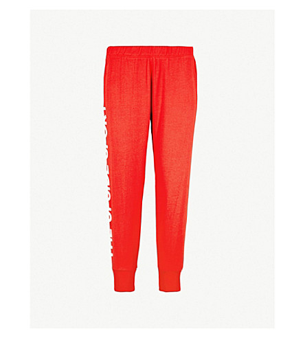 THE UPSIDE Deontay cropped cotton-jersey jogging bottoms (Red