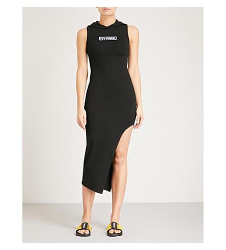 IVY PARK Lace-up asymmetric stretch-jersey midi dress (Black