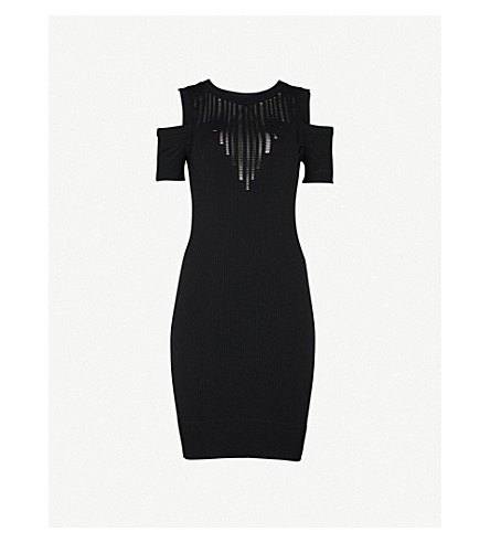 IVY PARK Cold-shoulder knitted mini dress (Black