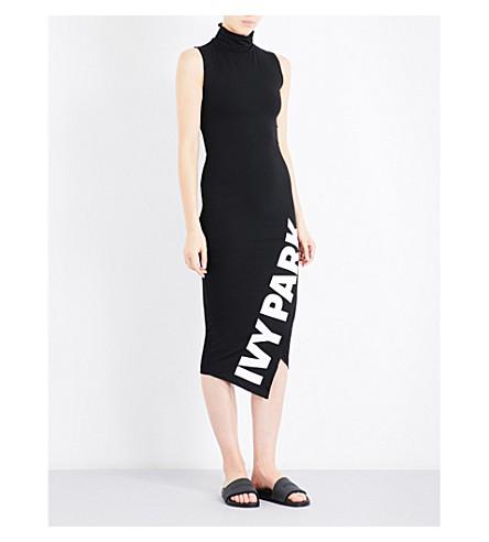IVY PARK Logo-print asymmetric stretch-jersey midi dress (Black