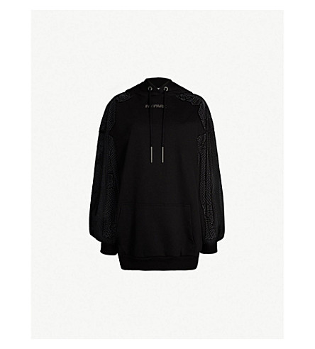 IVY PARK Lace-detail jersey and mesh hoody (Black