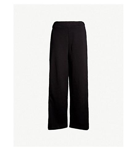 IVY PARK 标志饰边棉质混纺阔腿慢跑裤 (黑色