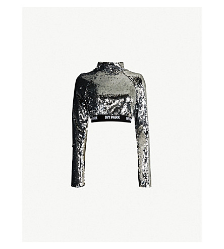 IVY PARK Logo-print sequin-embellished cropped top (Silver