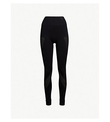 IVY PARK Circular knit stretch-jersey and mesh leggings (Black