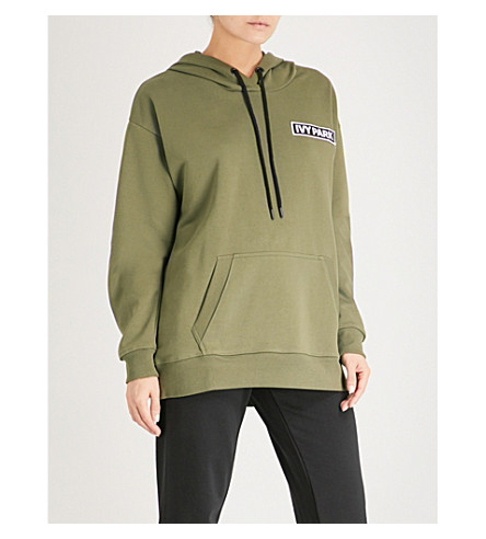 IVY PARK Logo-detail cotton-blend hoody (Moss