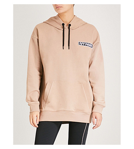 IVY PARK Logo-detail stretch-cotton hoody (Sand