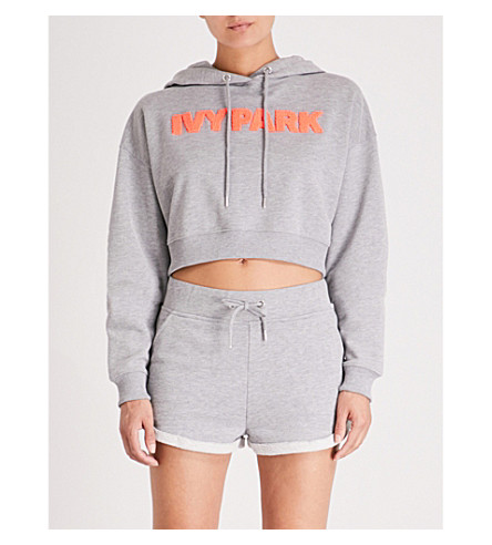 IVY PARK Cropped jersey hoody (Grey