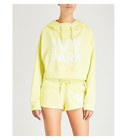 IVY PARK Cropped logo-print cotton-blend hoody (Yellow+pear