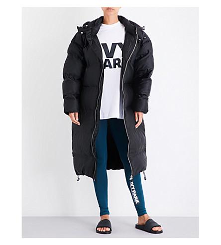 IVY PARK Longline bonded shell puffer coat (Black