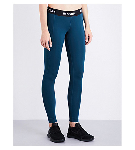 IVY PARK Logo-print skinny low-rise jersey leggings (Teal