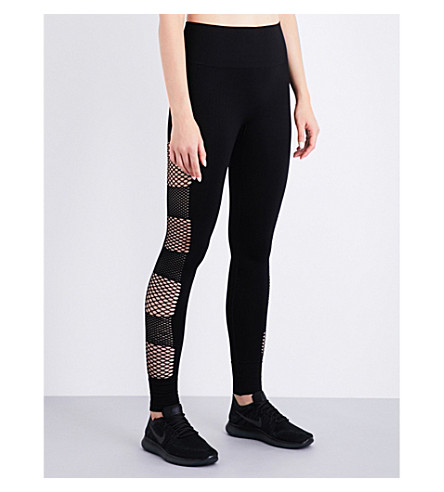 IVY PARK Mesh-panel skinny high-rise leggings (Black