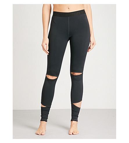 IVY PARK Slash-detail stretch-jersey leggings (Black