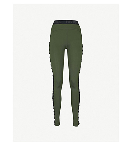IVY PARK Lace-up stretch-jersey leggings (Pine