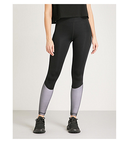 IVY PARK Mesh-panel stretch-jersey leggings (Black