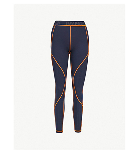 IVY PARK Contrast-stitched stretch-jersey leggings (Ink