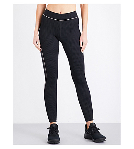 IVY PARK Fishnet jacquard ankle leggings (Black