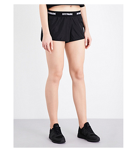 IVY PARK Logo-trim shell running shorts (Black