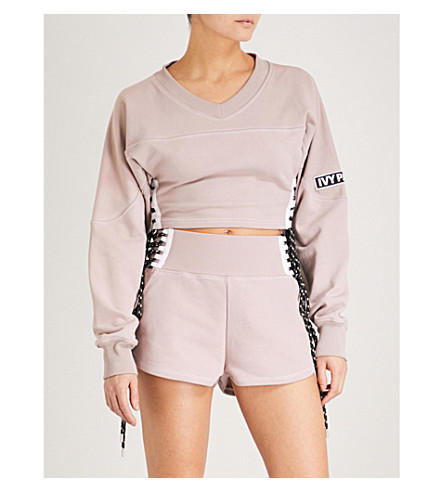IVY PARK Lace-up cotton-jersey shorts (Shadow+grey