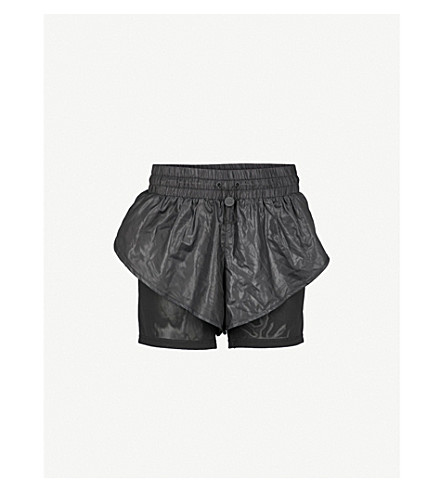 IVY PARK Wet-look shell shorts (Black