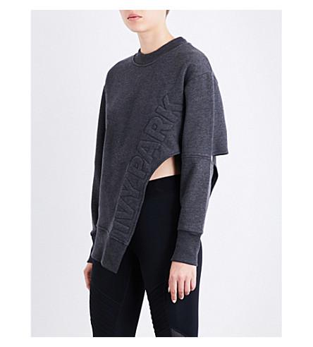 IVY PARK Asymmetric logo-print jersey sweatshirt (Charcoal+marl