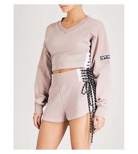 IVY PARK Lace-up logo-patch stretch-cotton sweatshirt (Pink