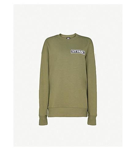 IVY PARK Logo-patch cotton-jersey sweatshirt (Moss