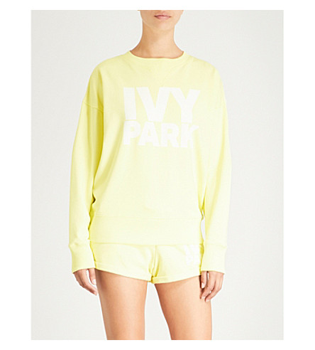 IVY PARK Logo-print cotton-blend sweatshirt (Yellow+pear