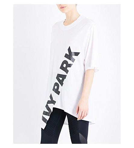IVY PARK Logo-print asymmetric jersey T-shirt (White