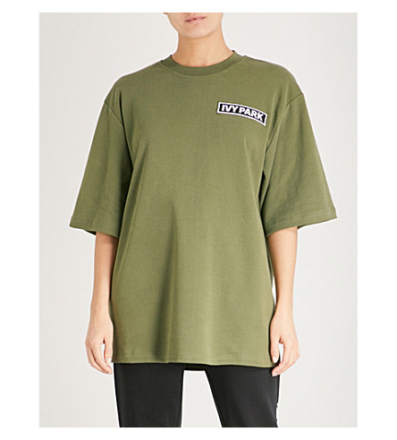 IVY PARK Logo-embroidered oversized cotton T-shirt (Moss